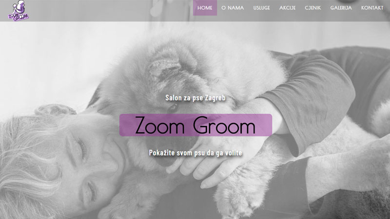 Internet stranice Zoom Groom salona za pse